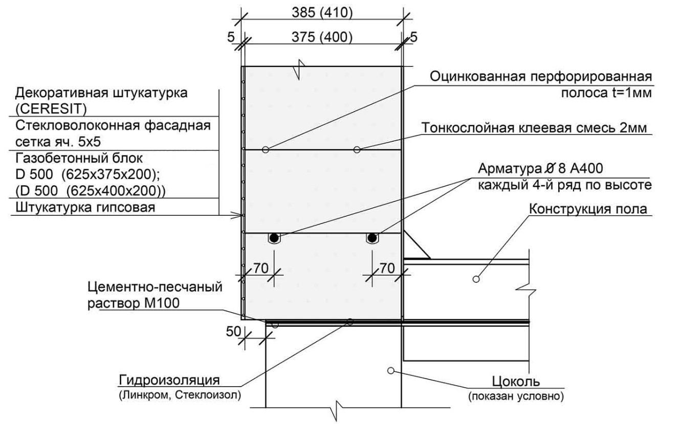 схема кладки газоселекатных блоков
