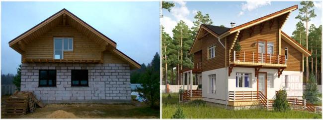 Дизайн комбинированного дома 124