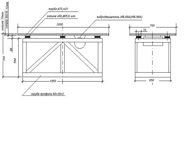 Рекомендуемые размеры стола