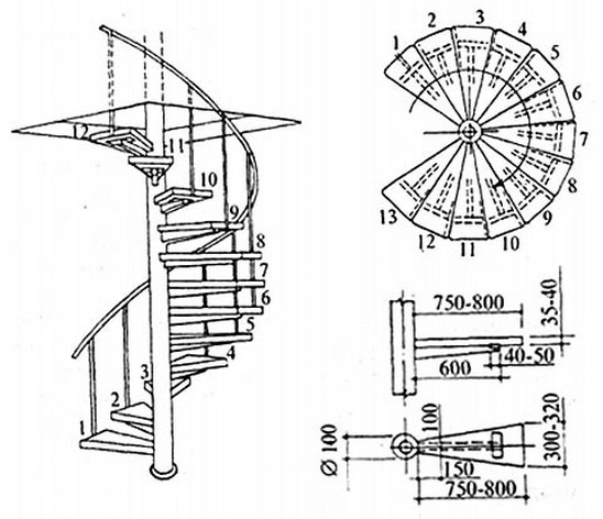 Чертёж лестницы винтовой конструкции
