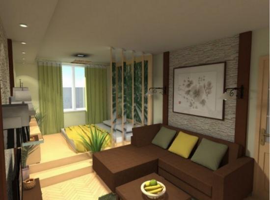 Зонирование квартиры шторами