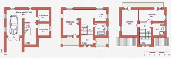 План дома с цокольным этажом и мансардой