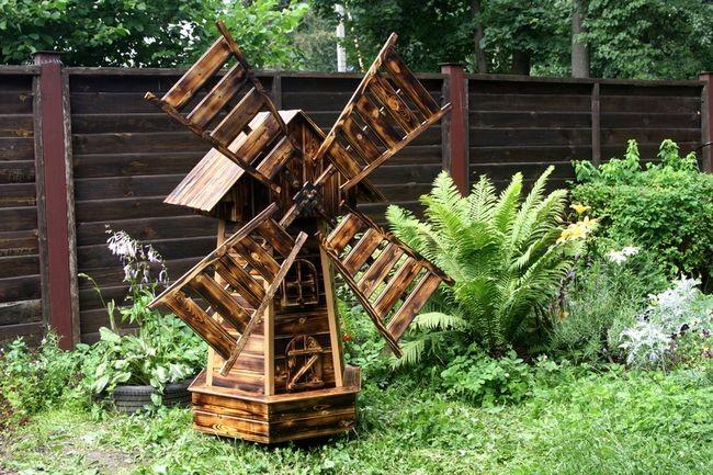 Мельница декоративная в саду своими руками