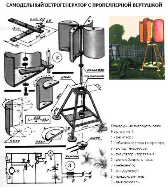Чертеж и схема роторного генератора