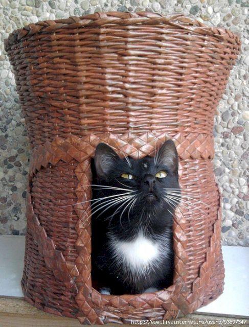 Домики для кошек из газетных трубочек