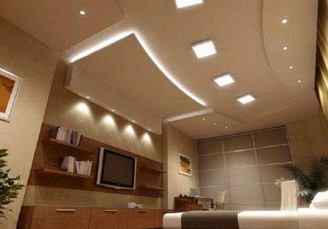 Навесной потолок может быть с точечной подсветкой различного назначения