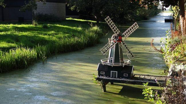 Ветряная мельница на водоеме