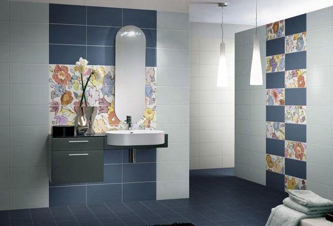 Кафельная плитка для ванной- дизайн с флористическими мотивами