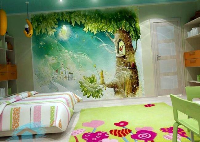 Комнату для девочки 3-6 лет можно оформить ярче и декоративнее