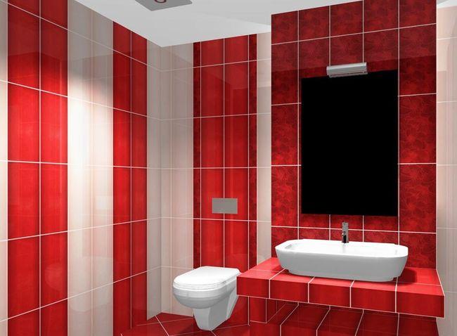 Варианты отделки ванной комнаты плитой вертикальным способом.
