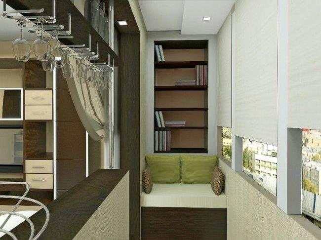интерьер узкого балкона