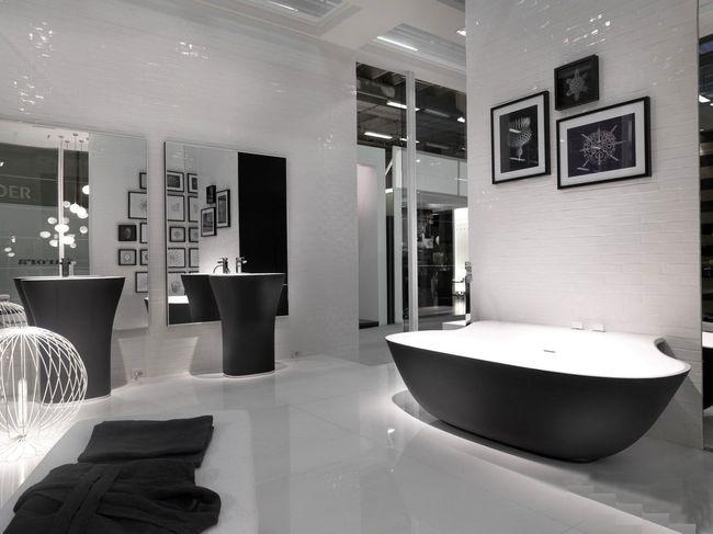 модерн- здесь важны вариативная подсветка и стилизованные зеркала