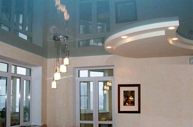 натяжные двухуровневые потолки для кухни
