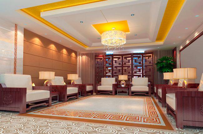 Дизайн потолка из гипсокартона для большой гостиной