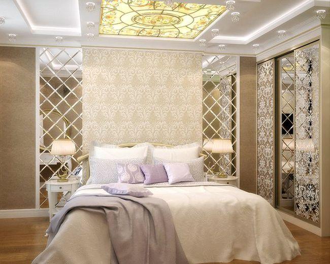 Классический интерьер спальни в светлых тонах