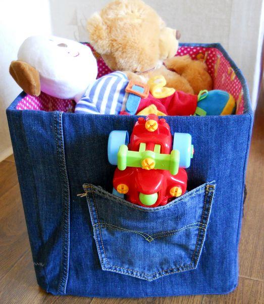Коробки для игрушек из старых джинсов