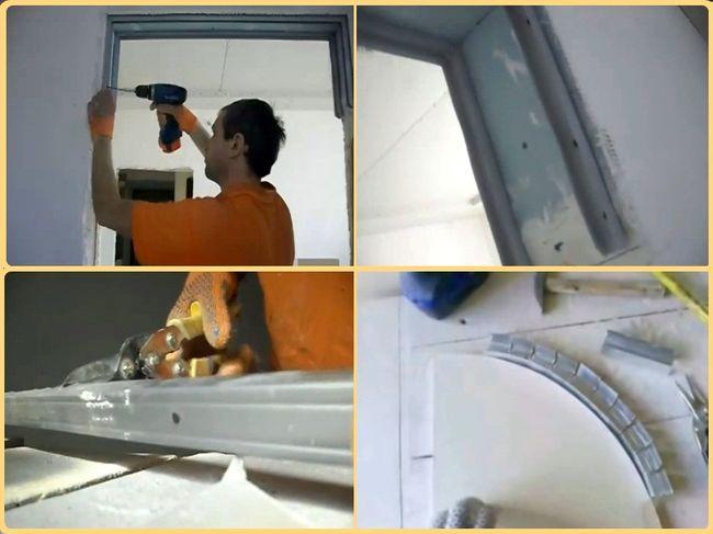 Крепление гипсокартонных частей арки из гипсокартона