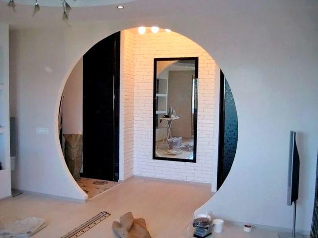 Круглая арка из гипсокартона в квартире