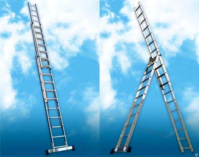 Лестница алюминиевая 3-х секционная универсальная раскладная