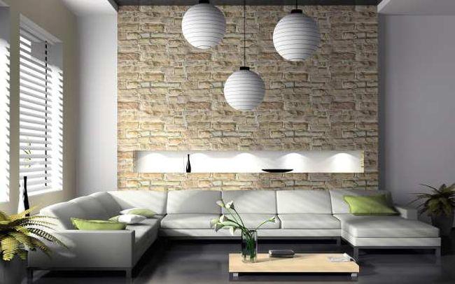 Modern interior of drawing-room 3D rendering