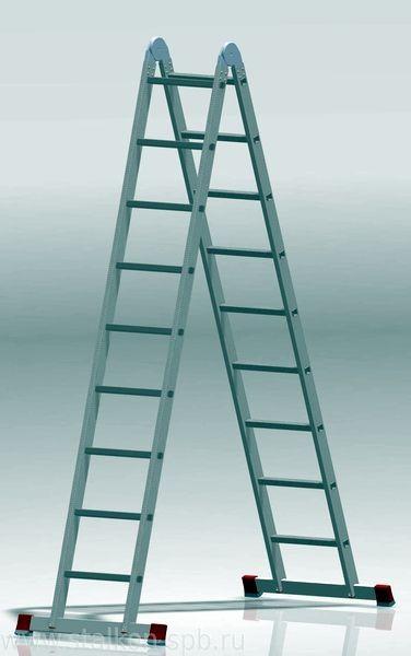 Шарнирная 2-х секционная алюминиевая лестница