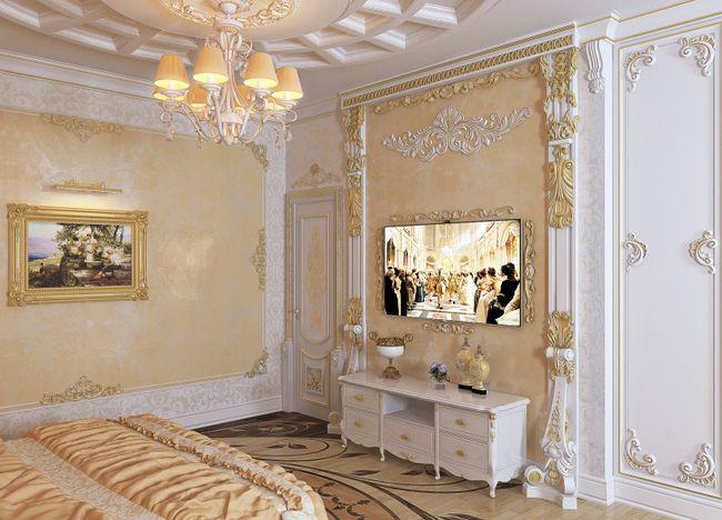 Спальня в молочных и бежевых тонах, классический стиль1
