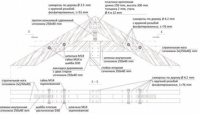 Элемент чертежа мансардной стропильной системы