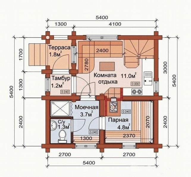 Интересные решения по использованию площади террасы и самой бани