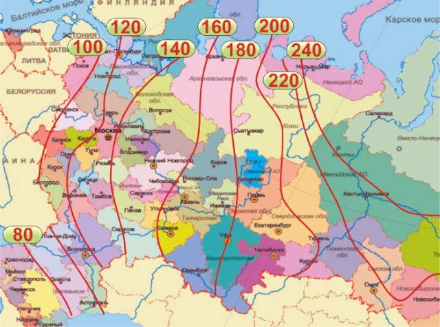 Карта промерзания почвы на территории Росcии