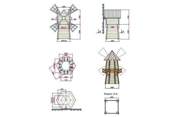 Пример мельницы с размерами