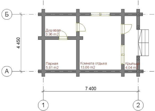 Проект бани из пеноблоков (план)
