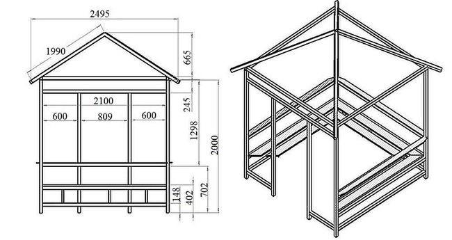 Прямоугольная беседка с четырехскатной крышей