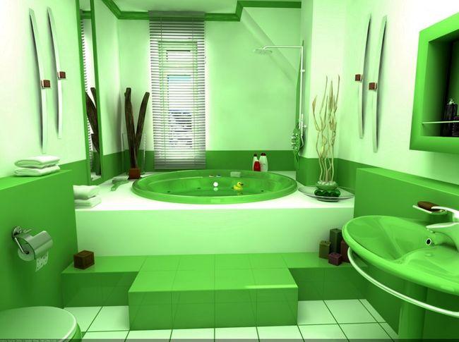 Отделка ванной в зеленом цвете