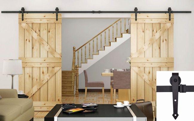 Большие раздвижные межкомнатные двери из натурального дерева2