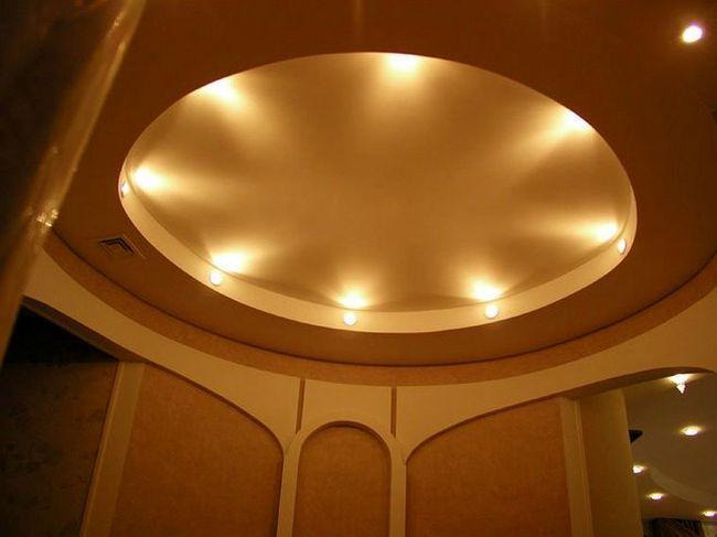 Двухуровневый потолок круглой формы