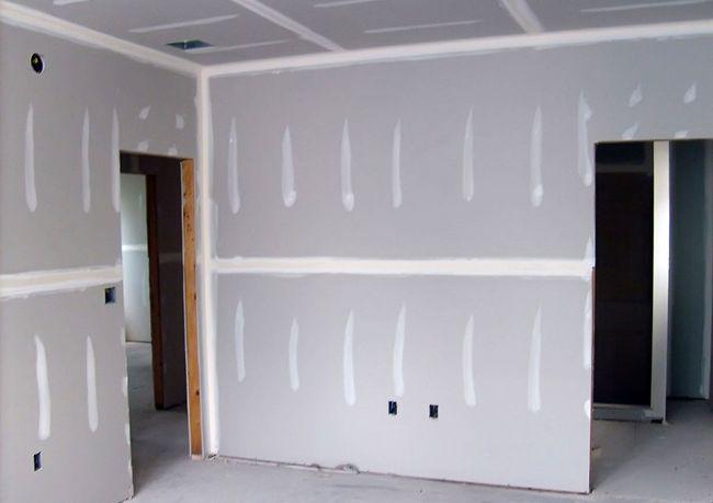 Внешний вид гипсокартонной стены перед финишной отделкой