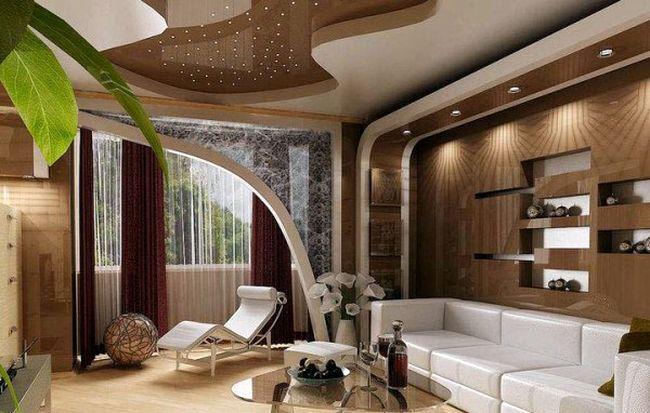 потолок в классическом интерьере гостиной-2